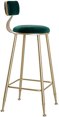 HZYDD Barhocker Stuhl Samt-Trend-Küche und Frühstück Barhocker mit Rückenlehne auf Metallbeinen mit Fußstütze weich gepolstert hoher Gegenstuhl (Farbe: schwarz) (Color : Green)