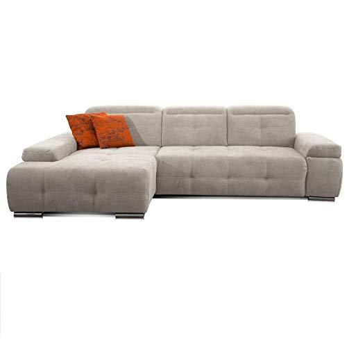 CAVADORE Schlafsofa Mistrel mit Longchair XL links / Große Eck-Couch im modernen Design / Mit Bettfunktion / Inkl. verstellbare Kopfteile / Wellenunterfederung / 273 x 77 x 173 / Kati Grau-Weiss