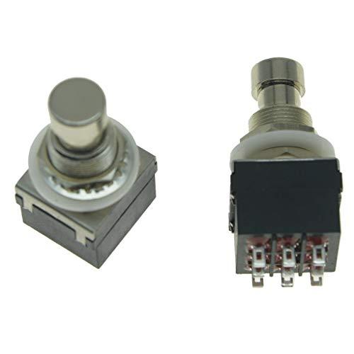 KAISH 2 Stück Box Stomp 9-Pin 3PDT Effektpedal Schalter Fußschalter True Bypass Blau/Schwarz schwarz
