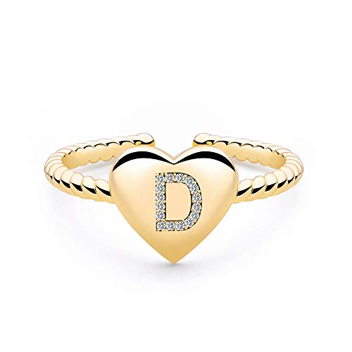 Gold Rings for Teen Girls Women, Gold Plated Heart Capital Letter Initial Rings for Women Teen Girls, Open Cute Initial Ring Alphabet Personalized Finger Rings Best Jewelry for Teen Girls (D)