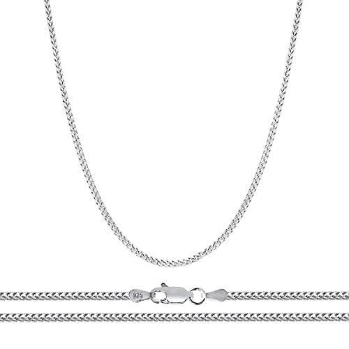 Cadena Franco de plata de ley 925 de 1 mm para hombres y mujeres   chapado en rodio con enlaces cuadrados fuertes   Tamaño 16-24..