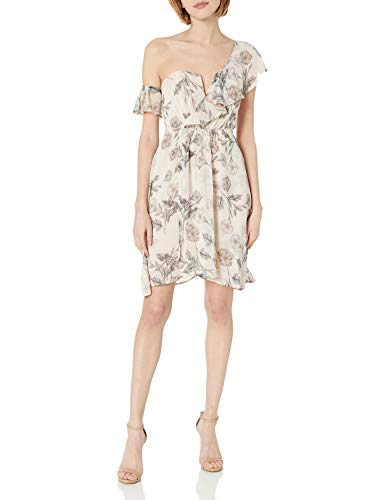 ASTR the label Women's Libby Asymmetric One Shoulder Short Cocktail Dress, Dusty Blush Floral, XS -  ACDR94986-964-XS