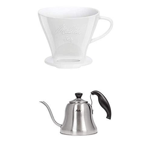 Melitta 219025 Filter Porzellan Kaffeefilter + Handbrüh-Wasserkessel mit Schwanenhalsausguss