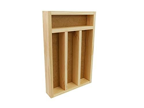 Bandeja Para Cubiertos/ Organizador de Cubierto de Madera/ Organizador de Cubertería/ Tabla Para Guardar Cubiertos Madera 31cm x 20cm x 4cm