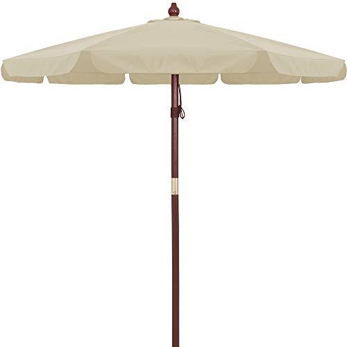 Kingsleeve Holz Sonnenschirm beige Creme 330 cm UV Schutz 50+ wasserabweisend Seilzug Marktschirm Gartenschirm Balkon