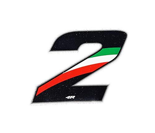 Quattroerre 13222 Racing cijfer 2 mini, Italiaanse vlag, 3 x 2,5 cm
