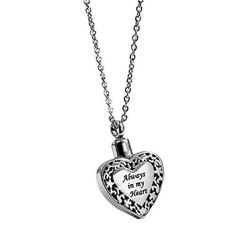 Cenizas Guardar Collar con Colgante De Corazón De Acero De