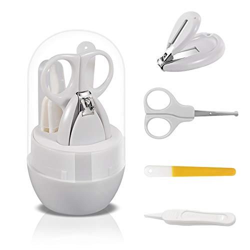 SONARIN Kit de uñas de bebé, 4-en-1 kit de aseo para bebés,con cortauñas para bebé,tijera,lima de uñas y pinza, kit de cuidado de uñas para recién nacidos, bebés o niños(Gris)
