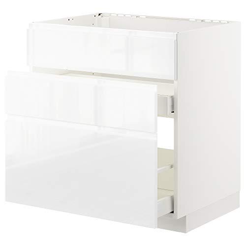 METOD/MAXIMERA cabina base f fregadero+3 frentes/2 cajones 80x62.1x88 cm blanco/Voxtorp alto brillo/blanco