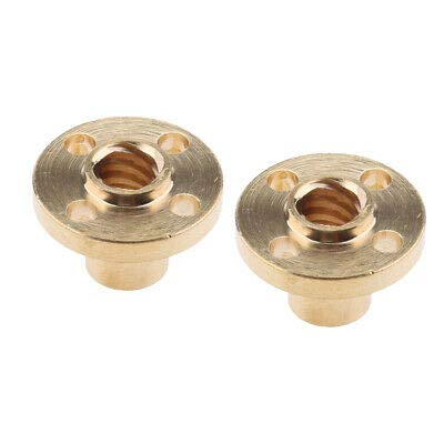I3D Selection Pack of 2 Brass Round Nuts for T8 Screws 2 mm Thread - 3D Printer Anet, Prusa, Geetech, Anycubic