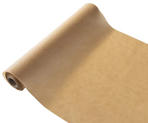 Papier parcheminé antiadhésif non blanchi (rouleau de 205 pieds carrés) - Massicot intégré - Résistant à des températures allant jusqu'à 232 Celsius - Marron, 15 pouces x 164 pieds