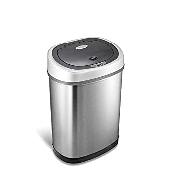 NINESTARS DZT-42-9 Automatic Touchless Infrared Motion Sensor Trash Can 11 Gal 42L Stainless Steel Base  Oval Silver/Black Lid