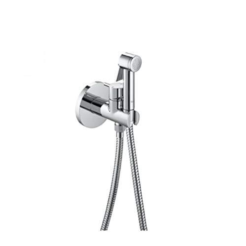 Roca Kit de ducha para bidé, 2 salidas, con ducha de mano, soporte toma de agua con auto-stop y flex, 21,5 x 21 x 6 centímetros, color metálico (Referencia: AG0139100R)