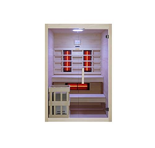 Novità mondiale, cabina a infrarossi e sauna in un unico prodotto realizzato in legno Hemlock di alta qualità, accessori completi, sauna a vapore per 3 persone, dimensioni esterne: 130 x 120 x 200 cm
