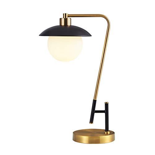 Lámpara de Noche Pantalla de lámpara retro simplicidad Hierro Tabla Art LED lámpara de cabecera de cristal Mesilla de noche de la lámpara for el dormitorio Oficina de lectura con base de cobre y Galva ⭐