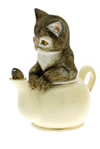 'Curiosity' Tabby Cat in Cream Teapot by Anablep