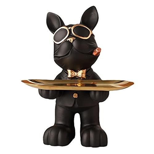 YXCKG Bulldog Cuenco De La Llave De Entrada,Bandeja Decorativos del Ornamento De Escritorio del Hogar De La Estatua del Arte Moderno,Bandeja Vaciabolsillos Recibidor Moderno (Color : Black)