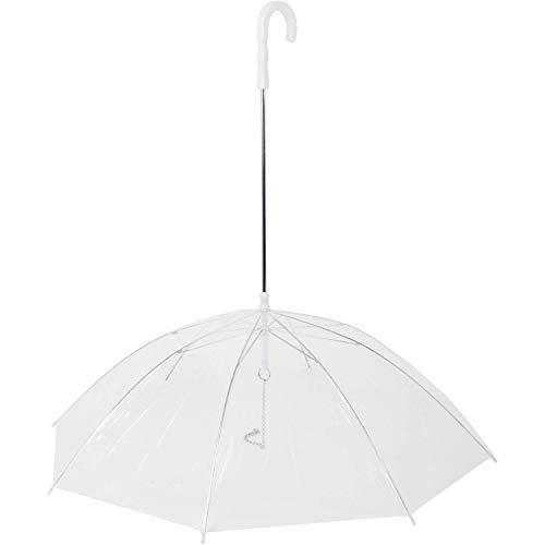 Vinciann-IT Ombrello con Catena guinzaglio per Cane Cani Trasparente Anti Pioggia Passeggiata Impermeabile