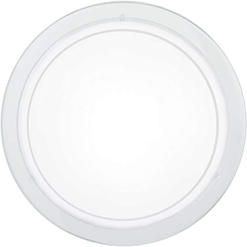 La plafoniera EGLO PLANET 1, lampada da parete a 1 punto luce, plafoniera in acciaio, colore: bianco, vetro: bianco satinato, attacco: E27