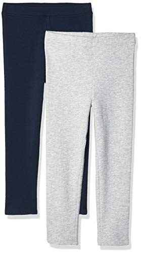 Amazon Essentials Big Girls' 2-Pack Cozy Leggings, Heather Grey/Navy, X-Large