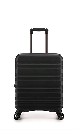 Antler Clifton Black Cabin Suitcase | Lightweight Hand Luggage | 4 Wheels | 55x40x20 | Cabin Luggage with Spinner Wheels for Ryanair | EasyJet | Jet 2