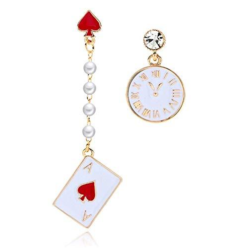 U/K Rock baumeln Ohrringe für Frauen Poker Card Wecker asymmetrische Anweisung Ohrringe stilvoll und beliebtzuverlässig