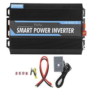 Inverter a Onda Sinusoidale Pura da DC 12V a AC 220 V 2000 W con Adattatore AC USB per Emergenza Esterna