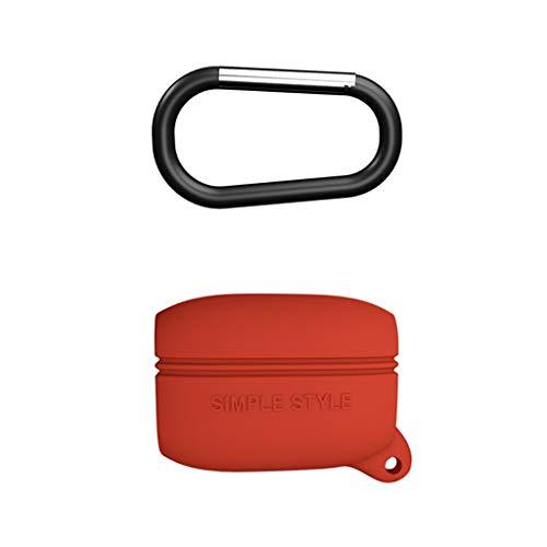 Junlinto, Custodia Protettiva Completa in Silicone Flessibile Anti-Shock Cover Completa per Auricolare Jabra Elite Active 65t Rosso