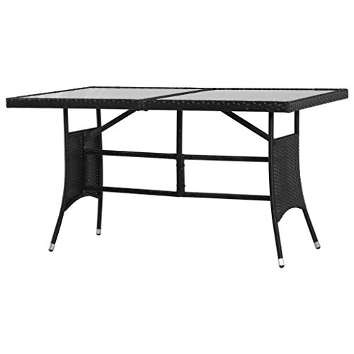 Festnight Garten-Esstisch | Gartentisch | Terassentisch | Rattan Tisch | Schwarz Poly Rattan mit Stahlrahmen 140 x 80 x 74 cm