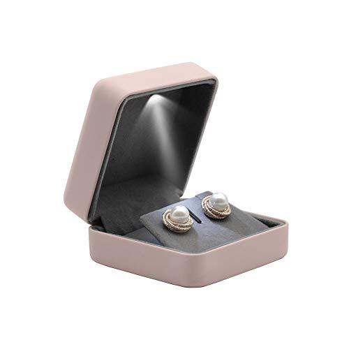 ZXCVBY Rosa Schmuck Ohrring Box Verpackung Box Ohrring Vitrine Lagerung Schmuck Feine Geschenkbox Schmuck Geschenk Mit Led-Licht
