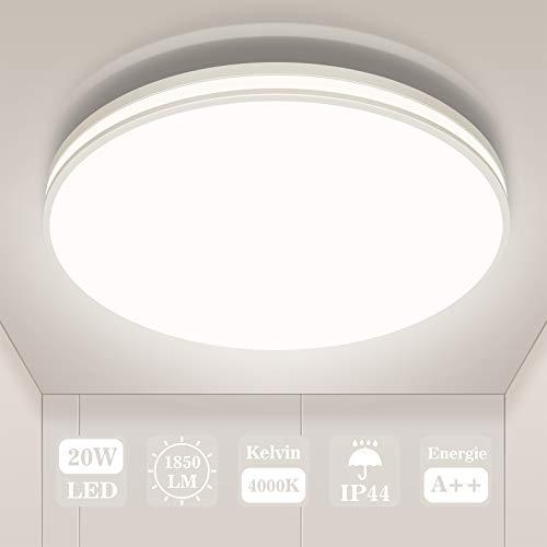 LED Deckenleuchte Rund, Öuesen Deckenlampe Neutralweiß 4000k, Schutzart IP44 Wasserfest 20W 1850LM für badezimmer lampe Kinderzimmer Schlafzimmer Küche Wohnzimmer Büro Flur Decke