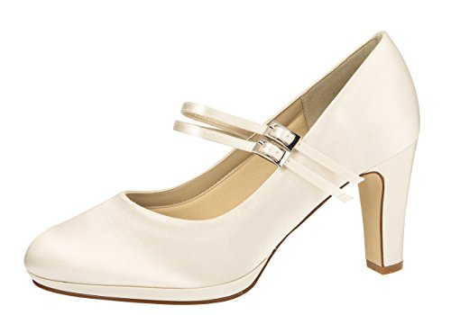 Rainbow Club Brautschuhe Annette - Pumps Riemchen Ivory Satin - High Heels - Gr 38 EU 5 UK