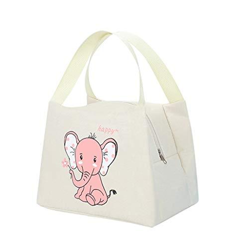 Amuse-MIUMIU Lunchtasche Mittagessen Tasche wiederverwendbar Lunchbag mit wasserdichter isolierter Lunch Tasche für Kinder und Studenten,Thermotasche Kühltasche Isoliertasche Picknicktasche (Beige)