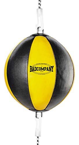 Bad Company Doppelendball aus Kunstleder inkl. elastischen Spanngurten I 25 cm Durchmesser I Boxball für das Reflex- und Boxtraining – Gelb