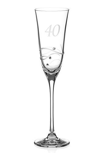 DIAMANTE Swarovski 40th Birthday Champagne Glass – Single Crystal...