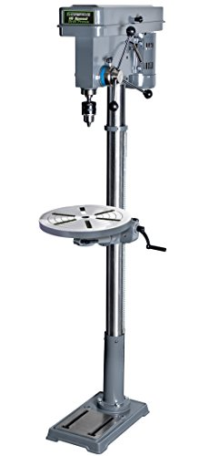 "Genesis GFDP160 6.6 Amp 13"" 5/8"" Chuck 16-Speed Floor Stand Drill Press with Tilt Table, Heavy Cast Iron Base, Chuck Key, and Wrenches, Grey"