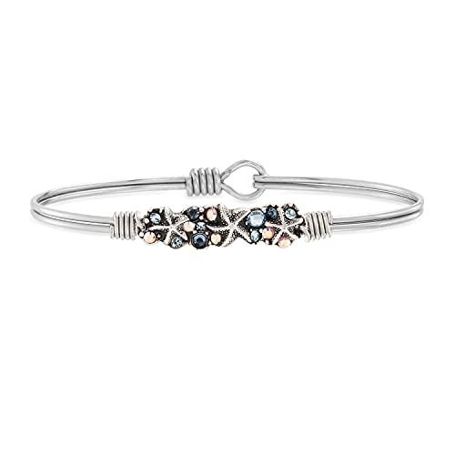 Luca + Danni Starfish Medley Bangle Bracelet For Women - Silver Tone Regular Size Made in USA