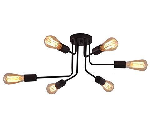 NARUJUBU Lámpara de araña industrial de luz de techo vintage Lámpara colgante retro con 6 portalámparas E27 for sala de estar Comedor Bar Porche Restaurante