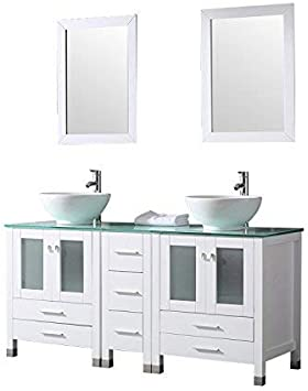 Amazon Com Wonline 60 White Double Wood Bathroom Vanity Cabinet And Round Ceramic Sink W Mirror Combo Wash Basin With Faucet Round Bowl Kitchen Dining