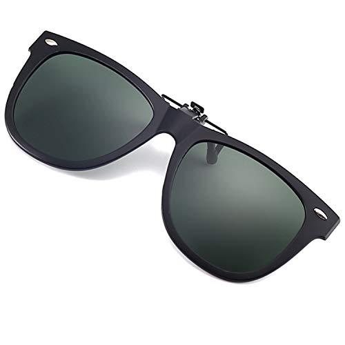 Polarized Clip on Sunglasses UV 400 Anti-glare Fishing Driving Flip Up Sun Glasses Over Prescription Glasses (Dark Green)