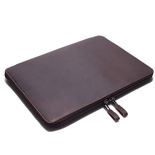 Organizador portátil de cuero Crazy Horse con funda para ordenador portátil para...
