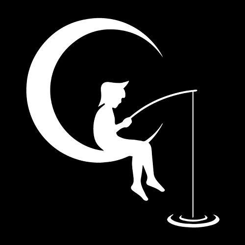 WZHLI Etiqueta engomada del Coche PVC Dibujos Animados Moon Luna Crescent Fish Decoration Etiqueta engomada Creativa Funda Impermeable Scratch Negro/Blanco, 16 cm X 15 cm (Color Name : White)