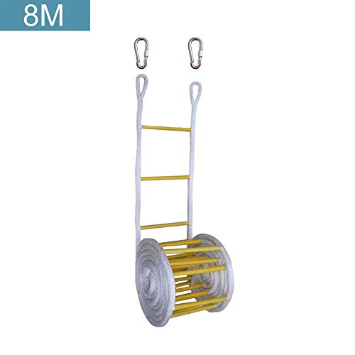 Fancylande 3-15 m ladder met haken, zachte trap, voor klimmen en klimmen, vluchtladder en multifunctionele ladder, perfect voor ramen en balkon