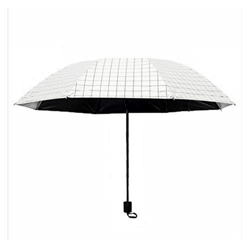 GIAOGIAO Paraguas del Enrejado Simple sombrilla Dama Sol Paraguas Plegable de Doble Uso del Paraguas Fresca pequeña Vinilo sombrilla (Color : White)