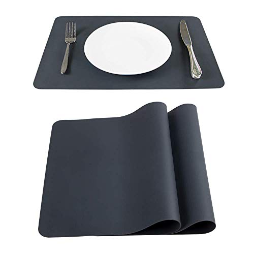 Webake Platzset Abwischbar Tischset Silikon 40 x 30 cm 2er Set für Kinder geeignet Platzdeckchen abwaschbar rutschfest Tisch-Untersetzer Teller-Unterlagen Teller-Untersetzer Waschbar Dunkel Schwarz