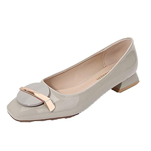 Flache Freizeitschuhe Damen Frühling Sommer Mokassin Slip On Outdoor Square Toe Block Low Heel Büro Kleid Loafers Schuhe