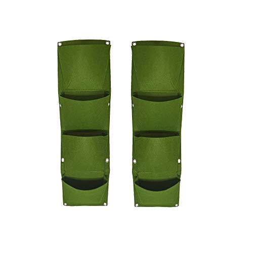 Bioluno Vertical Garden Bags (2 Stück) mit jeweils 4 vertikale Pflanzentaschen, Wandbehang, umweltfreundlich