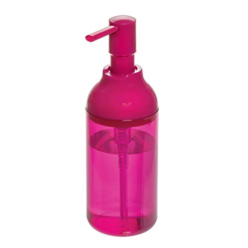 Price comparison product image iDesign Refillable Hand Soap Dispenser,  Large Plastic Liquid Soap Pump Also for Washing-Up Liquid,  355 ml Lotion Dispenser for Bathroom and Kitchen,  Pink