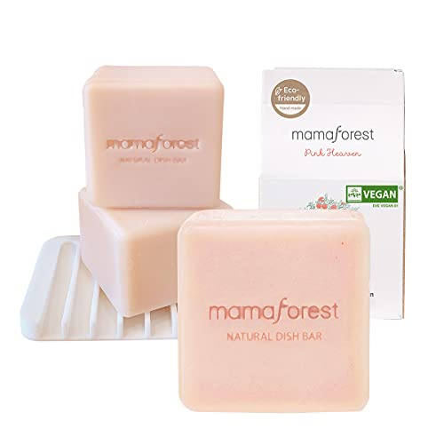 mamaforest Natural Soap Dish Bar (Pack of 3pcs+Tray, 5.29oz/1ea),Dish Soap Bar, Sustainable Zero Waste Sterilizing Dish soap Organic Essential Oil(Pink Heaven)