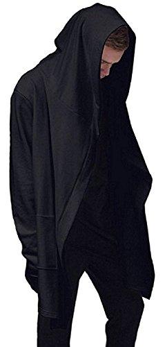 [ Smaids x Smile (スマイズ スマイル) ] カーディガン パーカー フード 付き ロング コーディガン シンプル ビッグ フード 夏 薄手 黒 白 プルオーバー ジップ ロング 赤 シンプル シャツ ゆったり トレーナー 刺繍 おおきめ 可愛い ほそめ スリム 用 物 服 マウンテン 迷彩 防水 ボタン フードなし ハンガー ノースリーブ メンズ (ブラック, L)